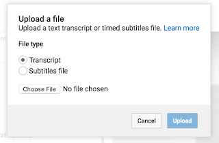 Upload a File Menu with Transcripts Selected
