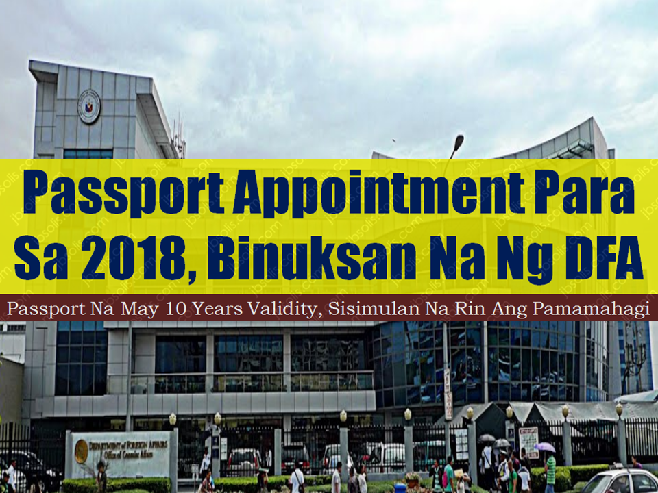The Department of Foreign Affairs has now open online apppointment for Filipinos who wish to apply or renew their passports.  Starting January 2018, the Department of Foreign Affairs (DFA) will be issuing Philippine passports with 10-year validity pursuant to Republic Act 10928 signed by President Rodrigo Duterte.  DFA's passport appointment system is now operated by state-owned Apo Production Unit, Inc. but the interface has not changed.  Sponsored Links  The passport fees remain the same: P 950.00 for regular processing (20 working days) and P 1,200.00 for express processing (10 working days).  The following are exempted from securing prior appointment and may enjoy priority lanes at consular offices and satellite offices: Senior Citizen with Senior Citizen ID Person with Disability (PWDs) with PWD ID or visible disability Solo Parent with Valid Solo Parent ID Pregnant women with medical certificate Minors seven (7) years old and below  Overseas Filipino workers with supporting documents and proof such as employment contract may walk in at Philippine Overseas Employment Administration in Mandaluyong City.   Advertisement  Read More:                 ©2017 THOUGHTSKOTO