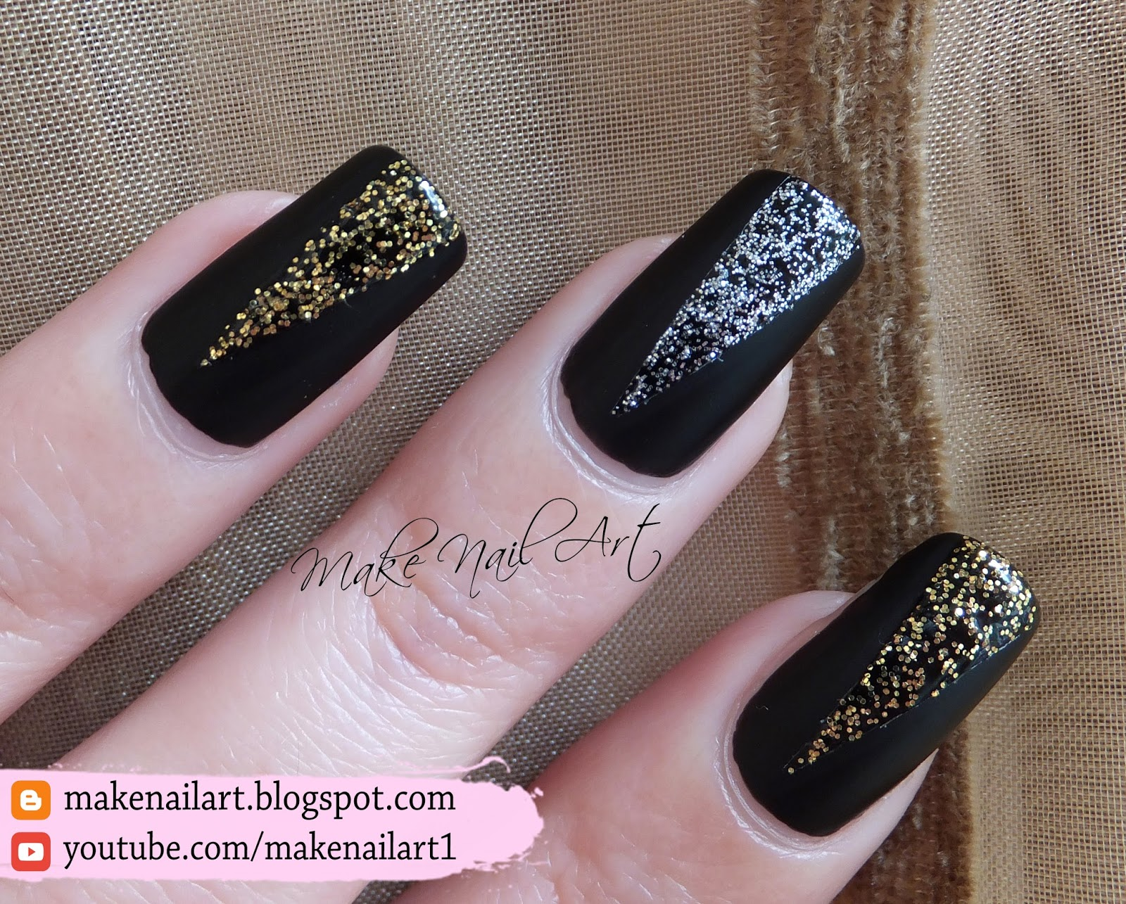 Make nail art april 2016 what you need black matte polish silver and gold glitter polish a striping tape solutioingenieria