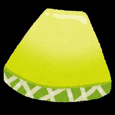 スライスされたメロンのイラスト(緑)