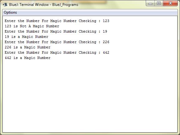Magic Numbers : Java : BlueJ