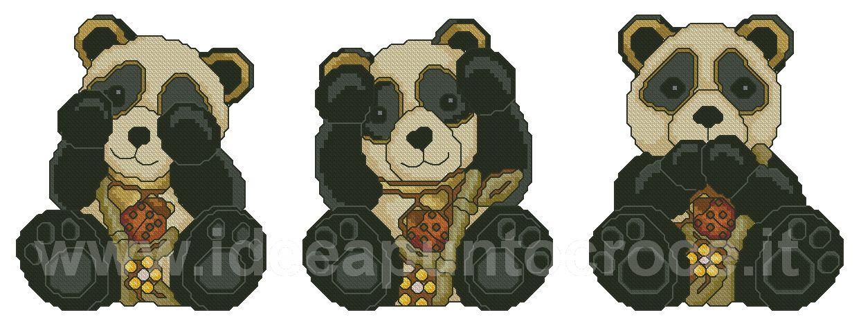 Thun schemi punto croce panda thun non vedo non sento - Panda thun 2017 ...