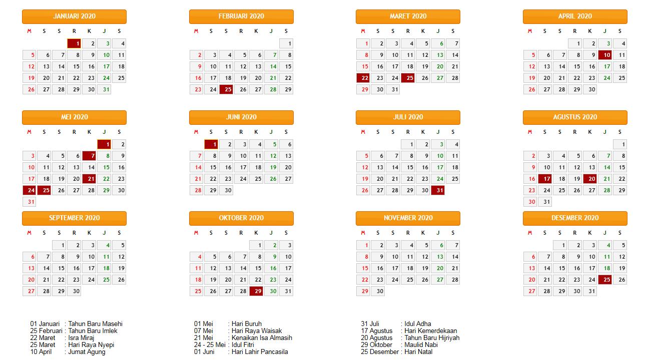 Kalender Lengkap Indonesia Tahun 2020 Beserta Hari Libur