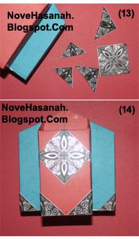 cara membuat atau langkah-langkah pembuatan kotak pensil dari bekas kemasan teh celup dan potongan-potongan ornamen kartu undangan 9