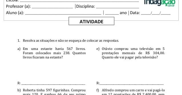 Atividade 5º Ano Situacao Problema Envolvendo Adicao Subtracao Multiplicacao E Divisao Indagacao