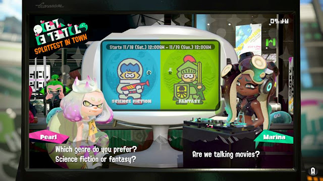Splatoon 2 Splatfest Team science fiction versus fantasy Pearl Marina news