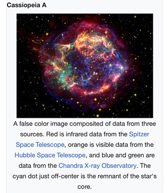 Cassiopeia false color image (Source: wikipedia)