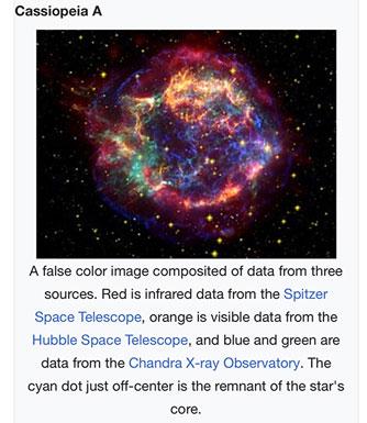 Cassiopeia false color image (Source: wikipedia)