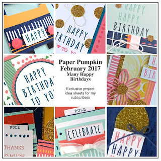 February 2017 Paper Pumpkin Alternative Projects ~ Many Happy Birthdays ~ www.juliedavison.com