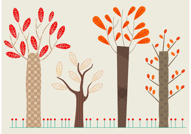 Set Of Flat Autumn Vector Trees