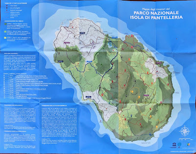 Map of Pantelleria showing different itineraries - road, dirt road, and trail.