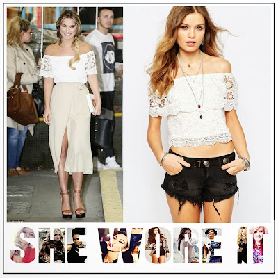 Beige, Belt Detail, Celebrity Fashion, Crochet, Crop Top, Floral Pattern, Glamorous, High Waisted, Lace, Midi Skirt, Off Shoulder, Sam Faiers, Scalloped Edge, Skirt, This Morning, Warehouse, White, Wrap Skirt,