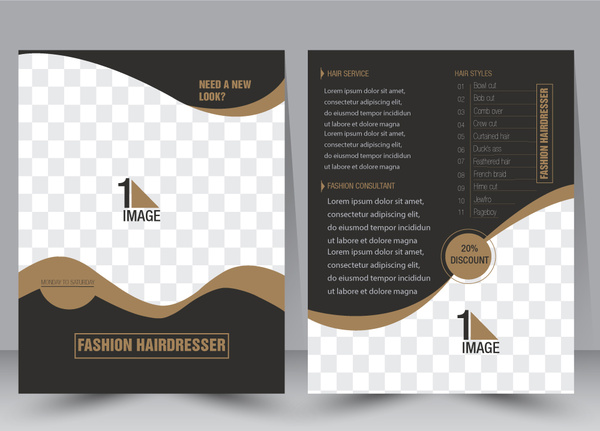 Flyer template vector illustration with checkered background Free vector