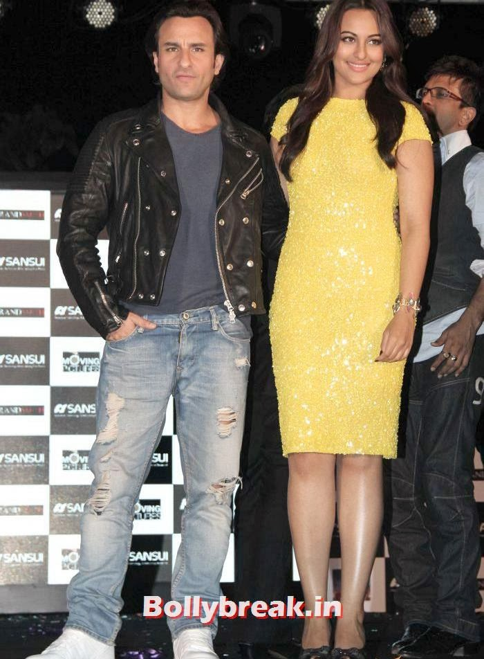 Sonakshi Sinha with saif ali khan, Sonakshi Sinha sizzles at Bullett Raja Press Meet