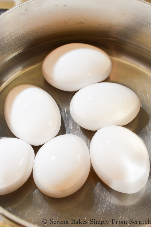 Easy Peel Hard Boiled Eggs fill pan halfway full of water.
