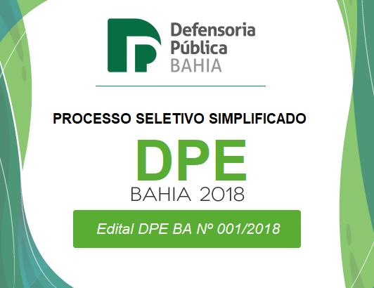 DPE-BA processo seletivo simplificado {REDA Defensoria Bahia 2018}
