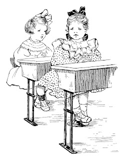 girl school desk illustration vintage image