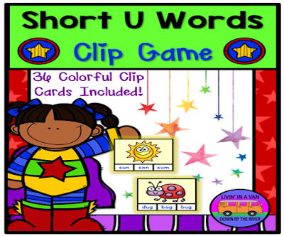 SHORT U WORDS, SHORT VOWEL GAMES, CLIP GAMES, LITERACY CENTERS