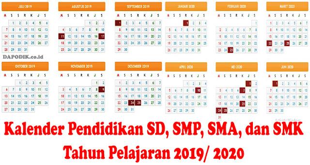 Kalender Pendidikan SD, SMP, SMA, dan SMK Tahun Pelajaran 2019/ 2020 Seluruh Provinsi