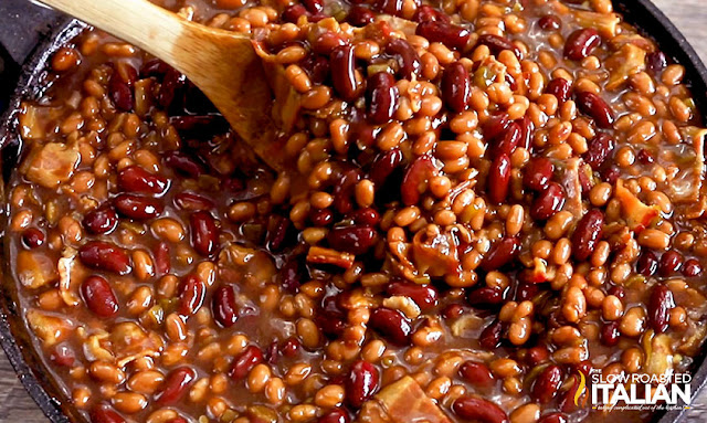 smoked baked beans - cooked and delicious