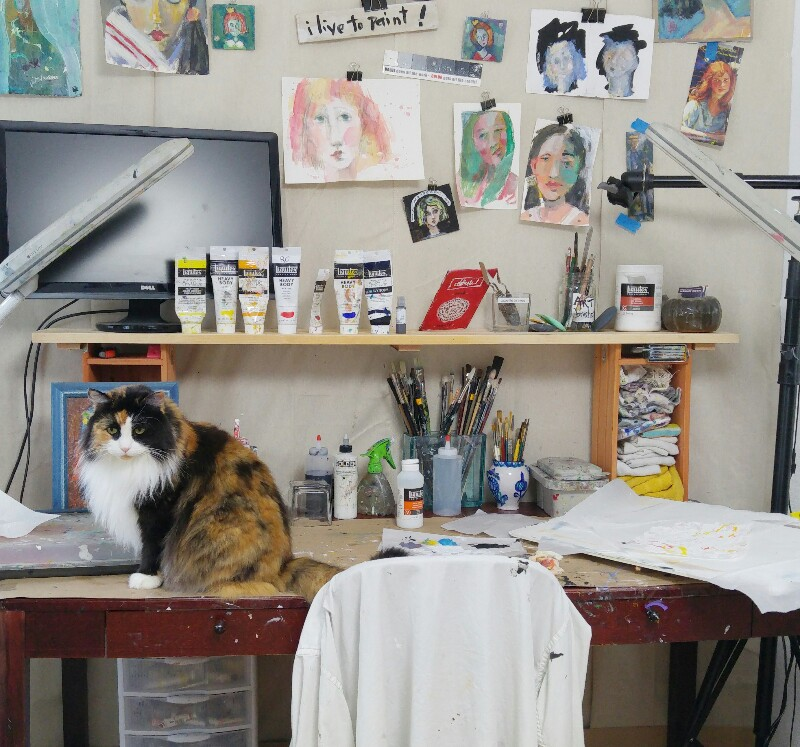 cat blossom in my art studio waiting for me to start painting