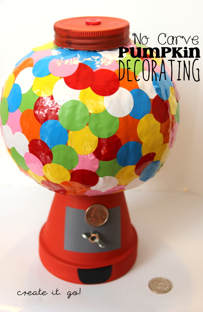 No Carve Pumpkin Decorating Ideas  DIY Bubble Gum Machine Pumpkin     For more fun no carve pumpkin decorating ideas  check these out from  previous years