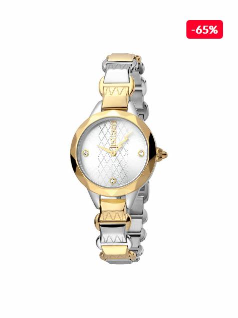 Ceas original de dama auriu cu argintiu Just Cavalli Rock JC1L033M0055