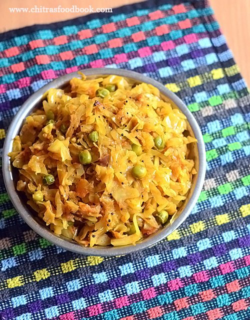 Cabbage masala for rice
