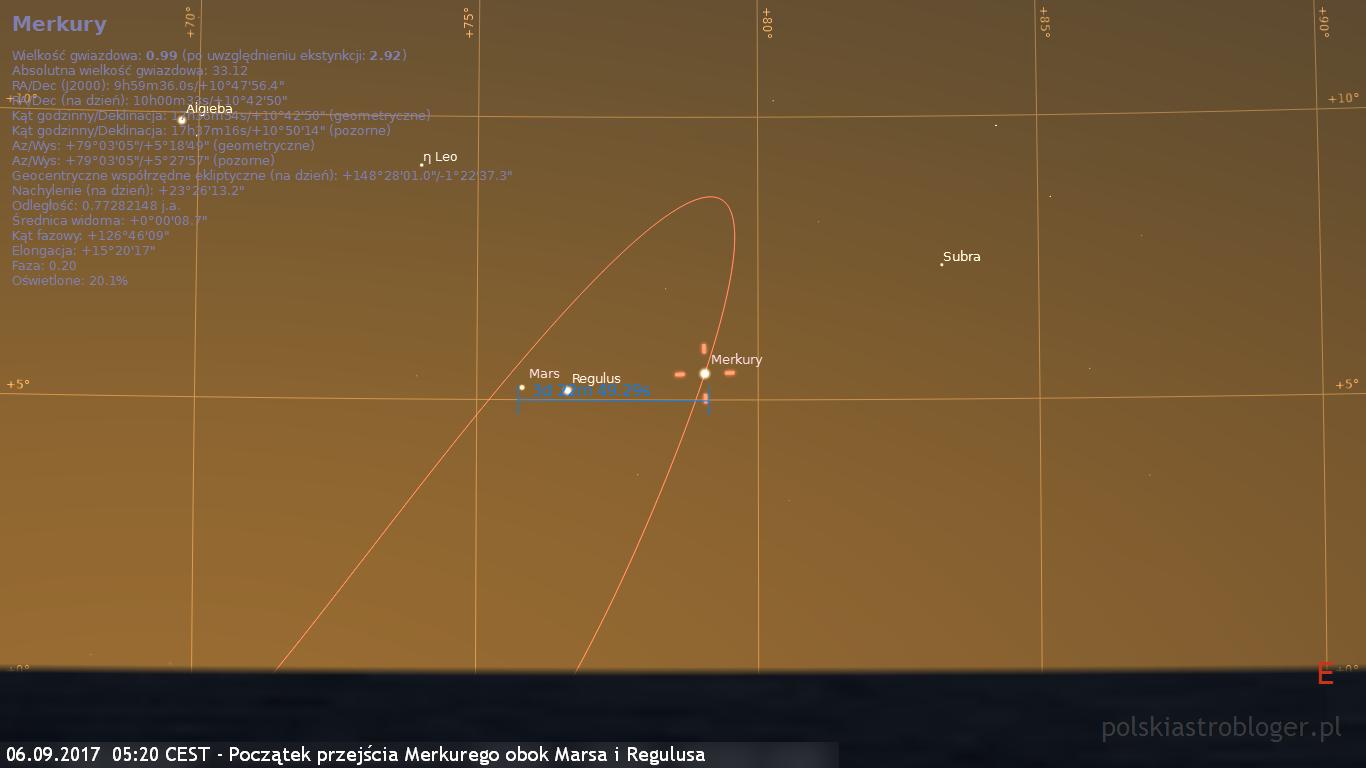 06.09.2017  05:20 CEST - Przejście Merkurego obok Marsa i Regulusa