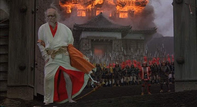Lord Hidetora's castle razed to ground, tatsuya nakadai in Oscar winning Japanese war epic Ran, directed by Akira Kurosawa