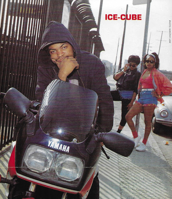 Ice Cube on a Yamaha FZ750 - Image Unknown