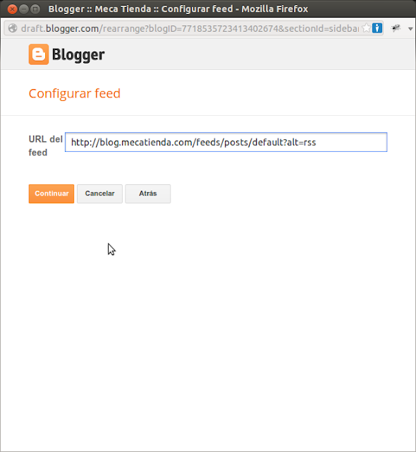 DriveMeca agregando un feed RSS a un blog en Blogger paso a paso