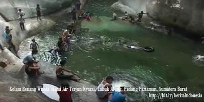 photo kolam renang wisata alam air terjun nyarai