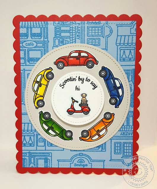 Sunny Studio Stamps: City Streets Interactive Spinning Car Card by Lindsey Sams.