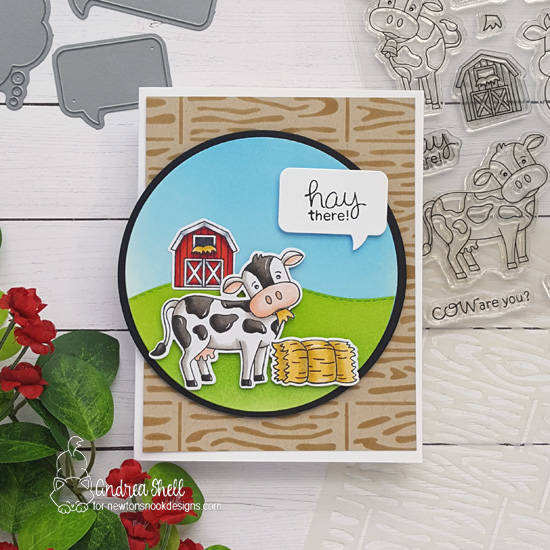 Hay There Cow Card by Andrea Shell | Moo Stamp Sets, Land Borders Die Set, Speech Bubble Die Set and Hardwood Stencil by Newton's Nook Designs #newtonsnook #handmade