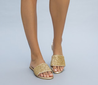 Papuci de vara de dama aurii la moda in 2017 ieftini