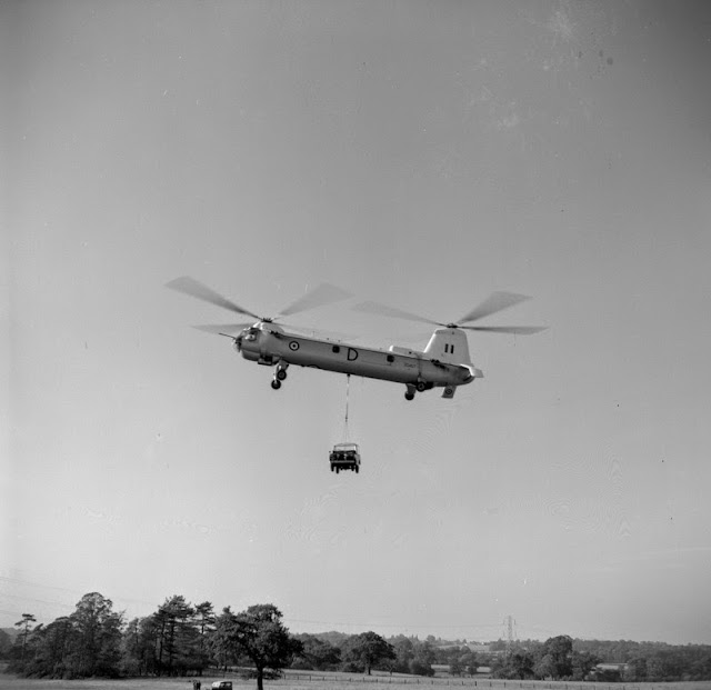 Land Rover demonstation, Solihull. Bristol Type 192 Belvedere helicopter carrying a Land Rover.