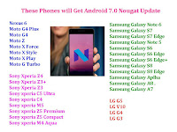 List of phones will get Android Android 7.0 Nougat,These Phones will get Android 7.0 Nougat,how to update Android 7.0 Nougat,Android 7.0 Nougat install,Android 7.0 Nougat update phone,list of phones of android 7.0,how to get Android 7.0 Nougat,Google Nexus,Motorola,Google Android One,Micromax phones,Lenovo phones,HTC phones,Samsung phones,Sony phones,LG phones,OnePlus phones,Xiaomi phones,Asus phones,Huawei phones,tablet,custom rom of android 7.0 nougat Nexus 6 Moto G4 Plus Moto G4 Moto Z Moto X Force Moto X Style Moto X Play Moto G Turbo  Sony xperia Z5 Premium  Sony xperia Z5 Compact  Sony Xperia Z4 Sony Xperia Z3+ Sony Xperia Z3 Sony xperia C5 Ultra Sony xperia C4 Sony xperia M5 Sony xperia M4 Aqua   Samsung Galaxy Note 6 Samsung Galaxy S7 Samsung Galaxy S7 Edge Samsung Galaxy Note 5 Samsung Galaxy S6 Samsung Galaxy S6 Edge Samsung Galaxy S6 Edge+ Samsung Galaxy S8 Samsung Galaxy S8 Edge Samsung Galaxy Aplha Samsung Galaxy A8 . Samsung Galaxy A7   LG G5 LG V10 LG G4 LG G3  HTC 10 HTC One M9 HTC ONE E9 Plus Upcoming HTC 11   Huawei Honor 5X  Huawie Ascend P8  huawei Ascend p8 Max Huawei Honor 6 Plus  Huawei mate S   Xiaomi Mi Note Mi Note Pro Xiaomi Mi4 Xiaomi Redmi Note 3  Xiaomi Mi 3     One Plus Three One Plus Two One Plus One  Lava iris X8  Lava V5  Lava Pixel V1 Lava pixel v2  Lava X10   Micromax Canvas 4  Micromax Canvas 5 Micromax One  Micromax Canvas Gold   Asus Zenfone 5  Asus Zenfone Max Asus Zenfone Zoom   Lenovo K5 Note  Lenovo K4 Note  Lenovo Vibe X1  Yu Yutopia  Yu Yuphoria. Yu Yureka Plus   Meizu Mx 5  Meizu M2 Note        Google Nexus: Google LG Nexus 5 (2013),  Motorola Nexus 6 (2014),   Nexus 4,  Nexus 5,  Nexus 6, Nexus 9, Nexus 10,   Motorola: Moto X Style,  Moto X Play,  Moto X (2014),  Droid Turbo,  Moto G 2nd Gen,  Moto G 3rd Gen,  Google Android One: Micromax Canvas A1,  Spice Dream Uno,  Karbonn Sparkle V,  Lenovo: Lenovo K3 Note,  Lenovo Vibe Shot,  Lenovo Zuk Z1,  HTC: HTC One M9,  HTC One M9 Plus,  HTC E9,  HTC E9 Plus,  HTC One M8,   Samsung: Samsung Galaxy Note 5,  Samsung Galaxy S6 Edge+,  Samsung Galaxy S6,  Samsung Galaxy S6 Edge,  Samsung Galaxy Galaxy A8,  Samsung Galaxy Galaxy Note 4,  Samsung Galaxy Note Edge,  Samsung Galaxy  Galaxy S5,  Samsung Galaxy Galaxy A5,     Sony: Sony Xperia M5,  Sony C5 Ultra, Sony Xperia Z3 Plus,  Sony Xperia Z3,  Sony Z3v,  Sony Z3 Compact,  Sony Z2,  Sony Xperia Z Ultra,   LG: LG Nexus 5,  LG G4,  LG G3,  LG G PAD, LG G, LG L90,    OnePlus: OnePlus One,  OnePlus 2,   Xiaomi: Xiaomi Mi 4i,  Redmi Note 2,   Asus: Asus  Zenfone 2,  Asus  Zenfone 2 Deluxe,  Asus  Zenfone 2 Laser,  Asus  Zenfone Selfie,  Asus  Zenfone 6, Asus  Zenfone 5 Asus  Zenfone 5 LTE, Asus  Zenfone Padfone,   Huawei: Ascend Mate 7,  Honor 6 ,  Honor 6 Plus,  Huawei P8 Update