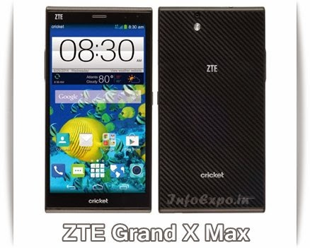 ZTEGrand X Max: 6 inch,1.2 GHz Quadcore Android Phone Specs, Price