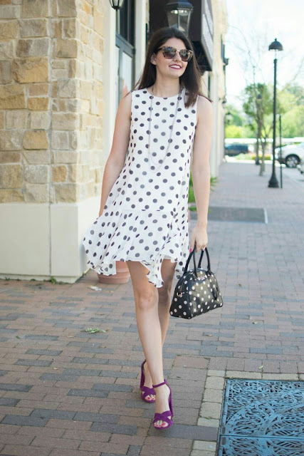 Polka dots white dress