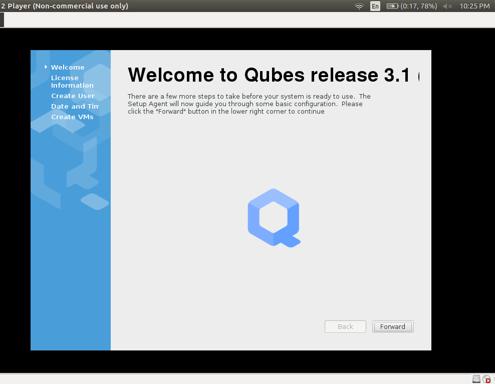 MELIORATE: Qubes OS Installation in VMWARE Workstation player
