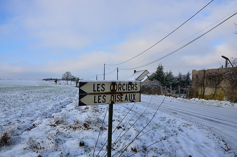 Paysage sous la neige Campagne Puisaye Yonne