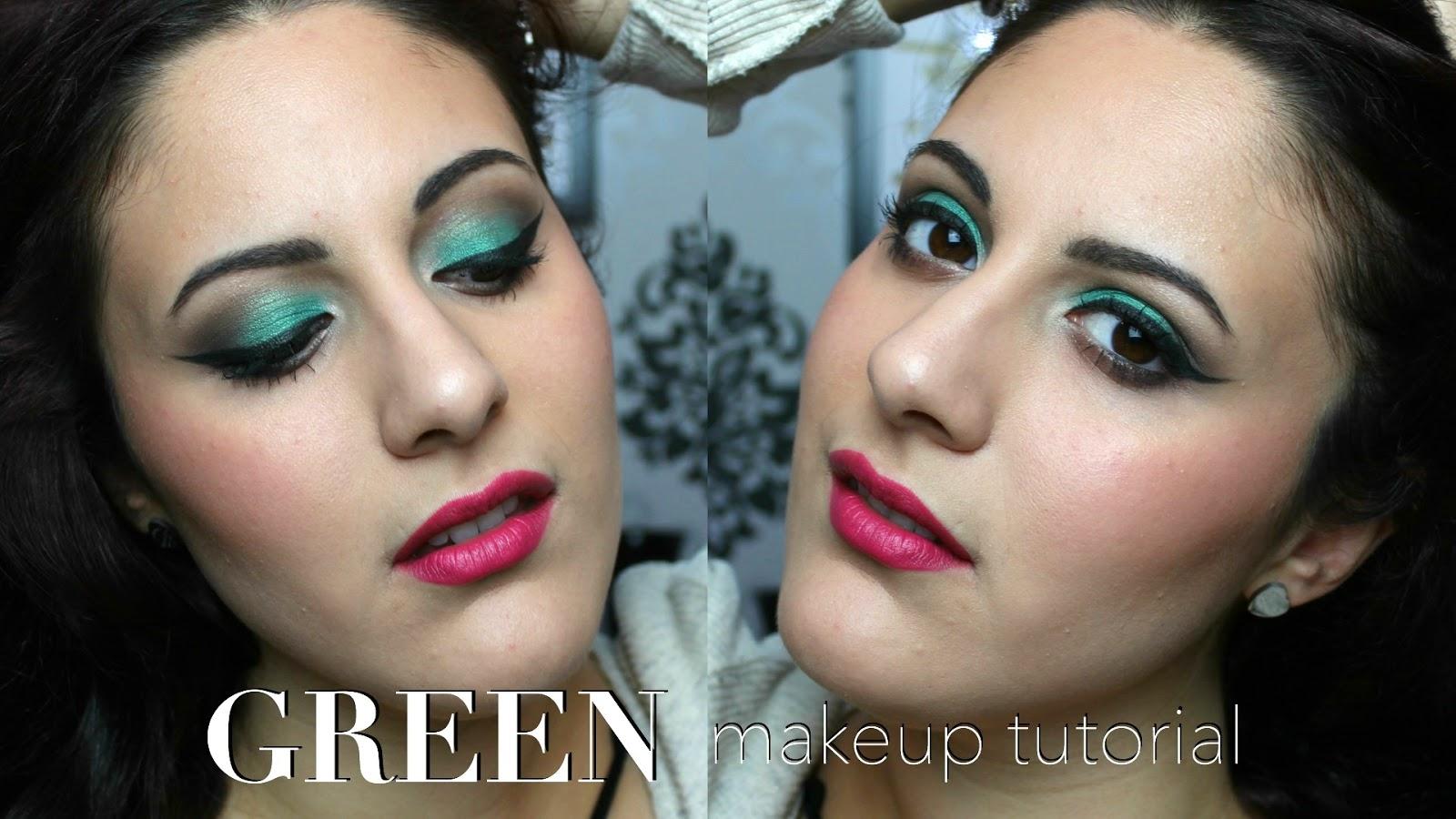 Super Glam : Green Eyes & Hot Pink Lips Makeup Tutorial