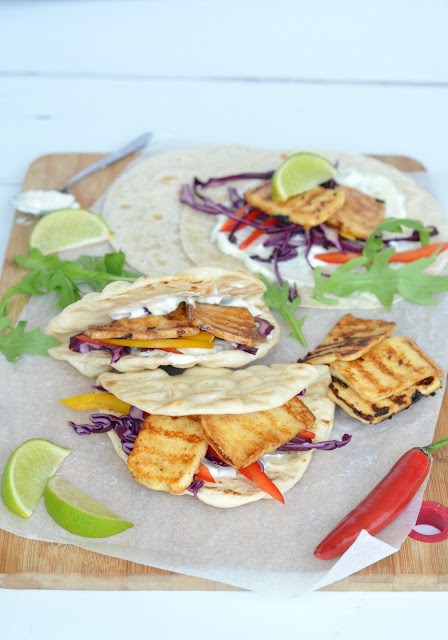 Hot & Spicy Halloumi & Salad filled Flatbread
