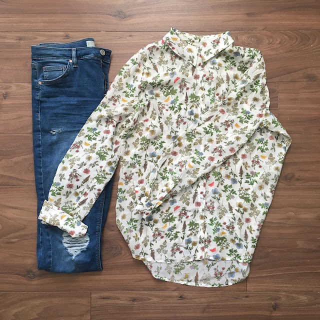 sweet allure fashion getting a little shirty flat lay outfit of the day converse topshop jamie jeans floral next shirt spring
