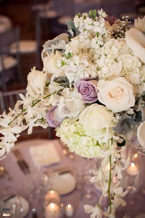 Fairmont Olympic Hotel wedding, lavender and white wedding flowers, luxury wedding reception