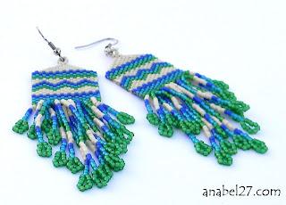 купить сережки из бисера длинные в этническом стиле бохо украшения