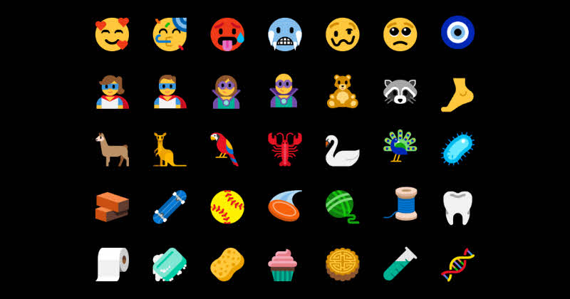 With the latest preview builds (17723 from RS5 and 18204 from 19H1), the Emoji Panel now includes 157 new emojis