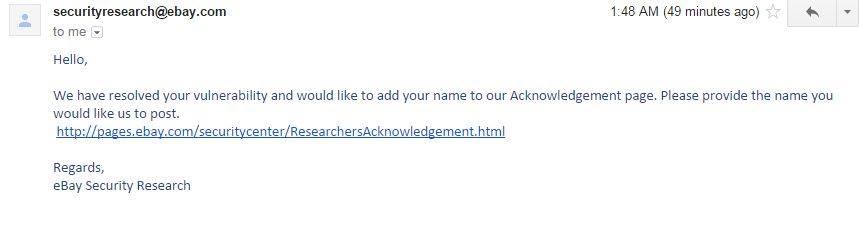 إكتشاف ثغرة أمنية خطيرة في موقع ebay