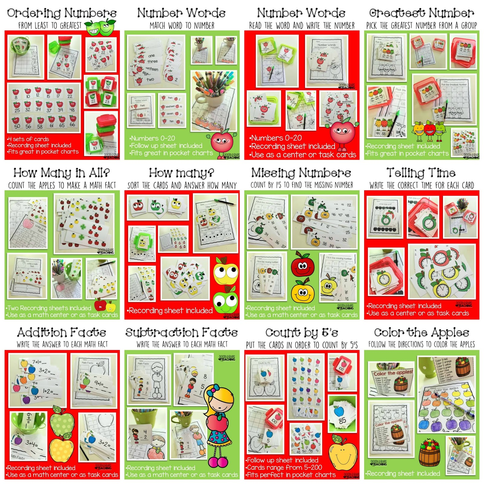 Doodle Bugs Teaching {first grade rocks!}: Amazing Apples Math Centers